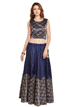 Navy Blue Bhagalpuri Art Silk Skirt Set