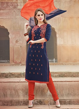 Navy Blue Blended Cotton Churidar Suit