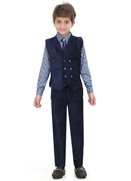 Navy Blue Blended Cotton Kids Suit