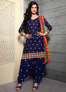 Navy Blue Blended Cotton Salwar Suit