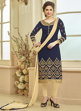 Navy Blue Blended Cotton Straight Suit