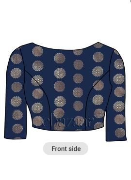 Navy Blue Boat Neck Art Silk Blouse