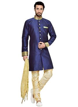 Navy Blue Breeches Style Indowestern Sherwani