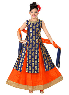 Navy Blue Brocade Teens Long choli Lehenga