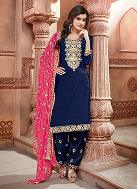Navy Blue Chanderi Cotton Salwar Suit