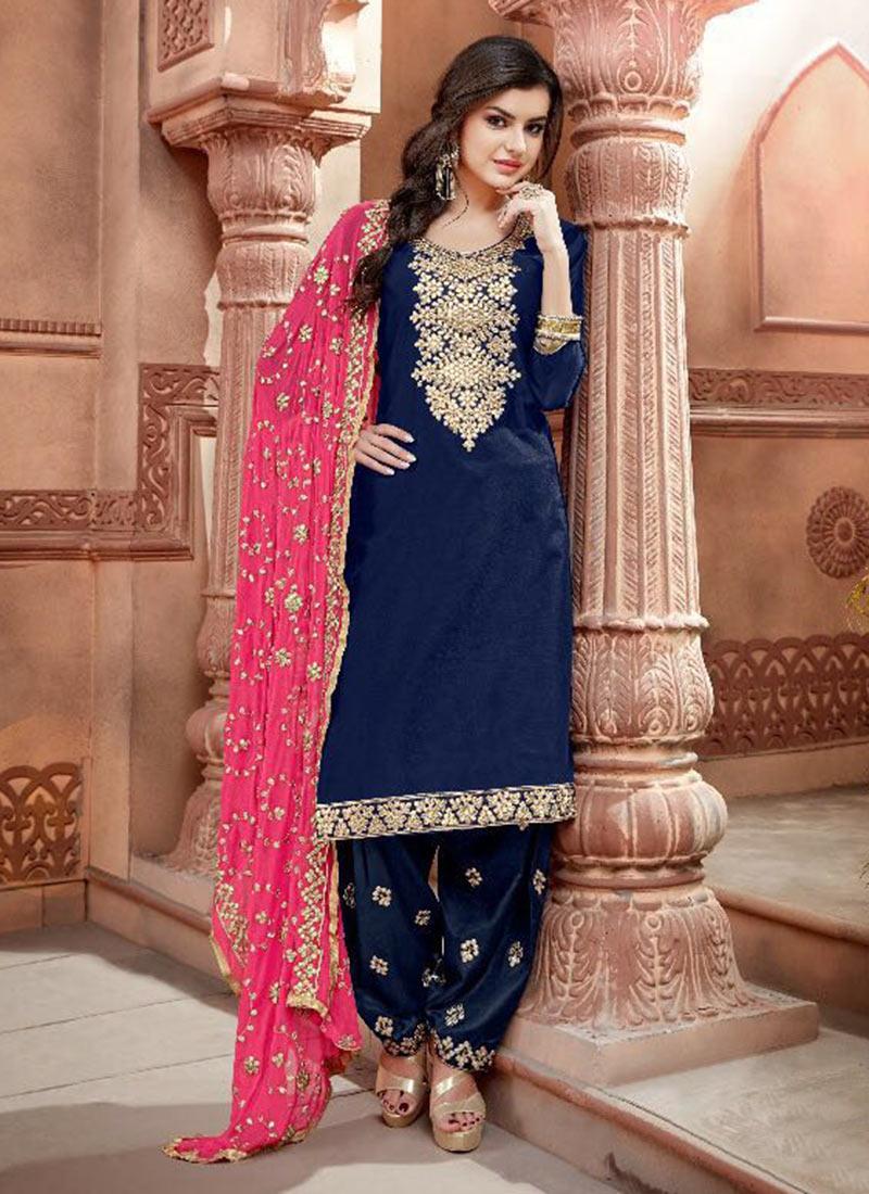 99de3155ce Buy Navy Blue Chanderi Cotton Salwar Suit, Embroidered , Chanderi ...