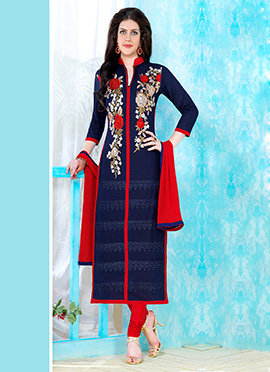 Navy Blue Chanderi Cotton Straight Suit