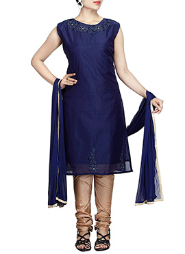Navy Blue Chanderi Pure Silk Cotton Churidar Suit