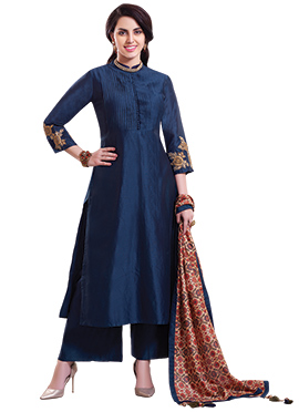 Navy Blue Chanderi Pure Silk Palazzo Suit
