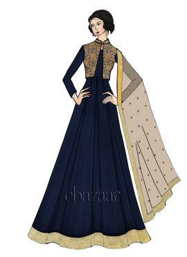 Navy Blue Chiffon Full Sleeve Abaya Set