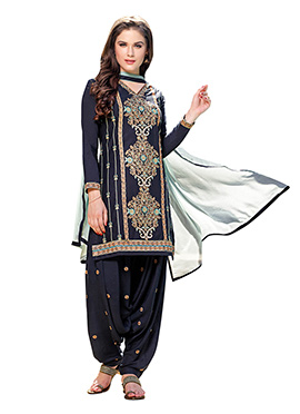 Navy Blue Cotton Cambric Patiala Suit