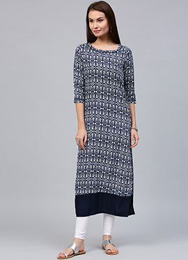 Navy Blue Cotton Long Kurti