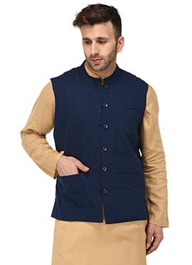 Navy Blue Cotton Nehru Jacket