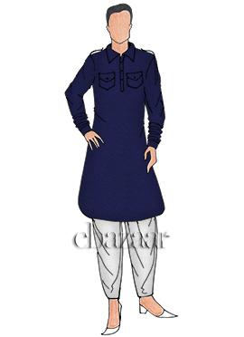 Navy Blue Cotton Pathani Set