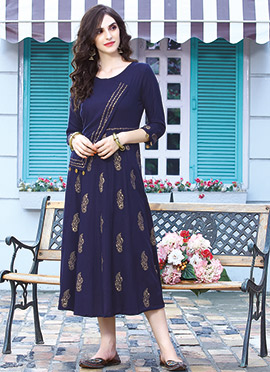 Navy Blue Cotton Rayon Kurti