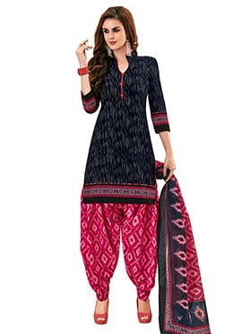 Navy Blue Cotton Salwar Suit