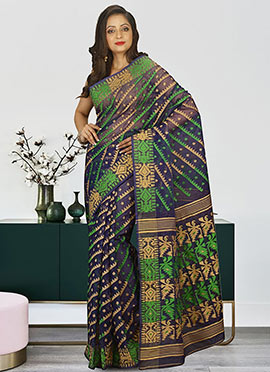 Navy Blue Cotton Silk Jamdani Saree