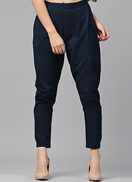 Navy Blue Cotton Straight Pant
