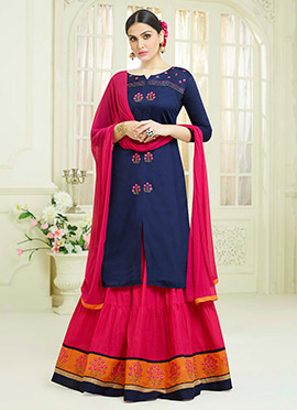 Navy Blue Cotton Umbrella Lehenga