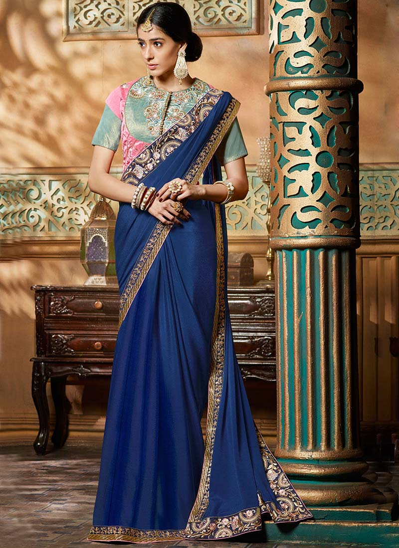 Buy Navy Blue Crepe Border Saree, Embroidered, sari Online ... Vest Suits For Boys