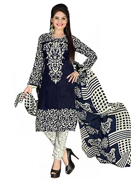 Navy Blue Crepe Printed Straight Suit