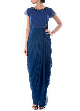 Navy Blue Draped Gown