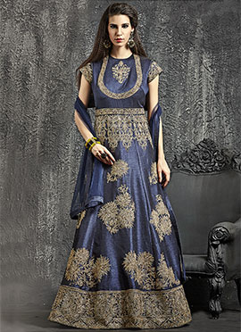 Navy Blue Dupion Silk Anarkali Gown
