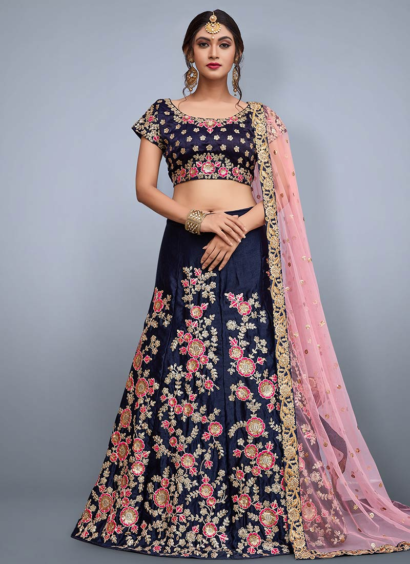 ff73d134d0 Buy Navy Blue Embroidered A Line Lehenga, Embroidered, a line ...