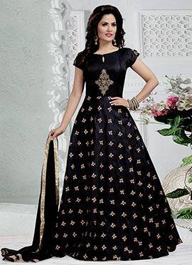 Navy Blue Embroidered Abaya Style Anarkali Suit