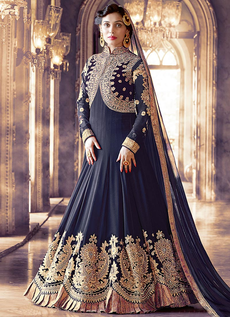 9db4249e53 Buy Navy Blue Embroidered Abaya Style Anarkali Suit, Embroidered ...
