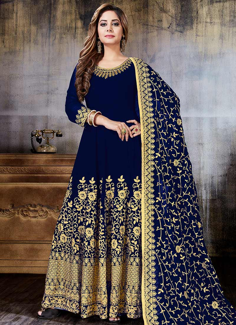 57f53e827d Buy Navy Blue Embroidered Abaya Style Anarkali Suit, Embroidered ...
