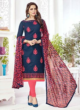 Navy Blue Embroidered Churidar Suit