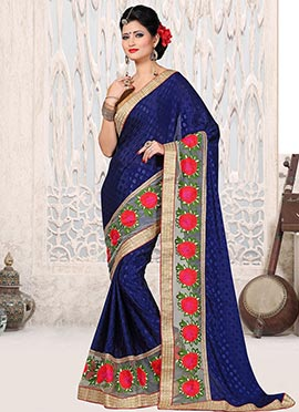 Navy Blue Embroidered Crepe Jacquard Saree
