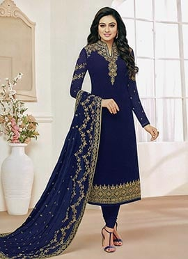 Navy Blue Embroidered Dupatta