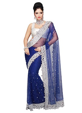 Navy Blue Embroidered Net Embellished Saree