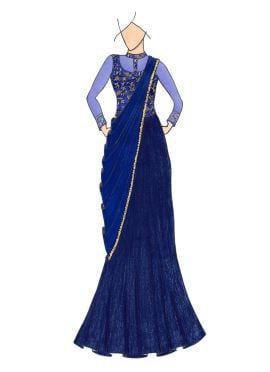 Navy Blue Embroidered Sheer Saree Gown