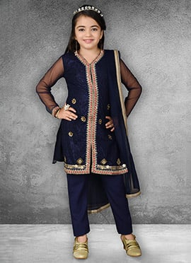 Navy Blue Embroidered Straight Pant Suit