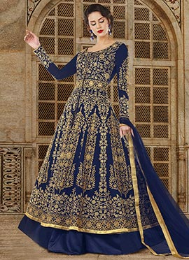 Navy Blue Embroidered Anarkali Suit