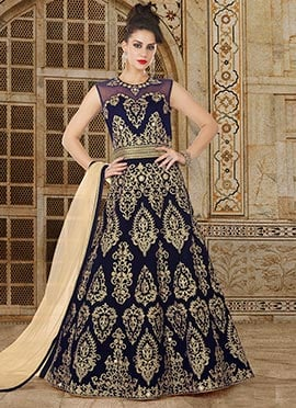 Navy Blue Embroiered Anarkali Suit