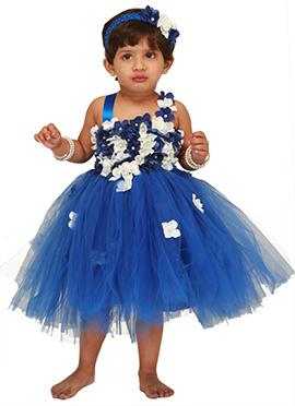 Navy Blue Floral Design Kids Tutu Dress