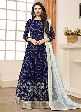 Navy Blue Georgette Abaya Style Anarkali Suit