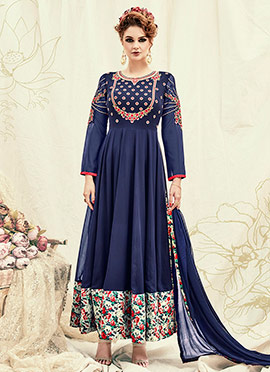 Navy Blue Georgette Abaya Style Anarkali Suit