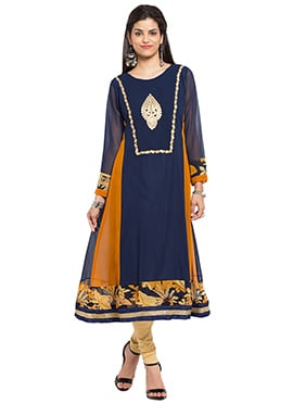 Navy Blue Georgette Anarkali Kurti