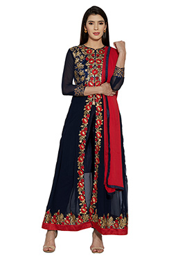 Navy Blue Georgette Churidhar Suit