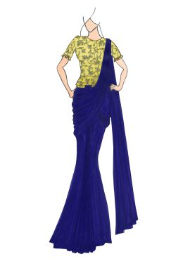 Navy Blue Georgette Drape Saree with Gold Embroidered Blouse