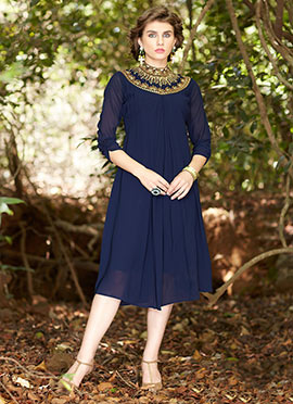 Navy Blue Georgette Dress