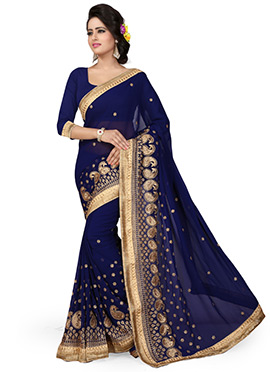 Royal Blue Georgette Embroidered Saree
