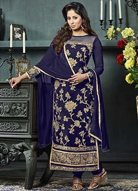 Navy Blue Georgette Embroidered Straight Suit