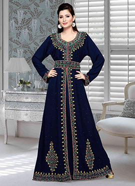Navy Blue Georgette Fustan