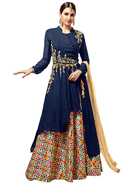 Navy Blue Georgette Long Choli umbrella Lehenga